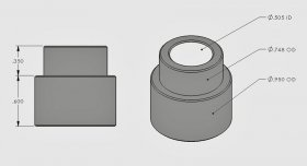 ".600"" Step Bushing 1/2"" I.D."