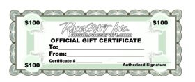 Racecraft Inc $100 Dollar Gift Certificate
