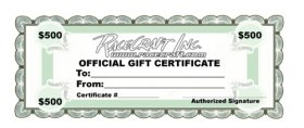 Racecraft Inc $500 Dollar Gift Certificate