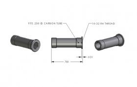 10-32 RH - .250 ID Carbon Tube Adapter (ea)
