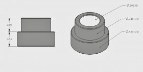 ".375"" Step Bushing 1/2"" I.D."