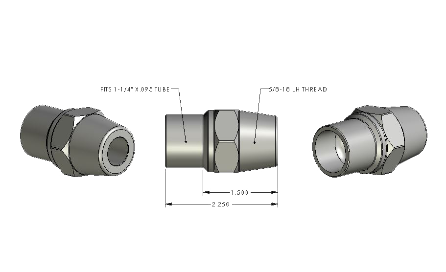 5/8-18 LH - 1.250 x .095 Tube Adapter (ea)