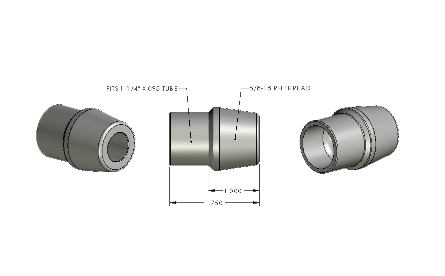 5/8-18 RH - 1.250 x .095 Tube Adapter (ea)