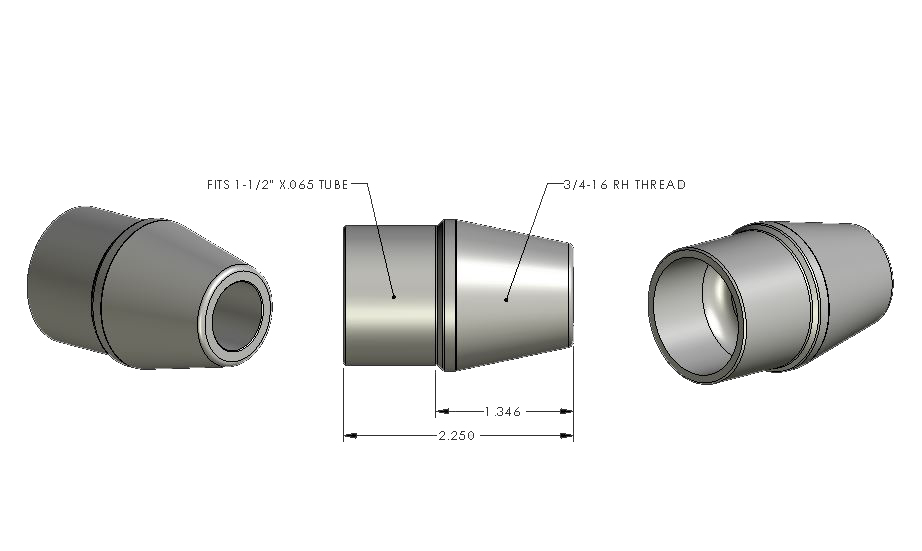 3/4-16 LH - 1.500 x .065 Tube Adapter (ea)